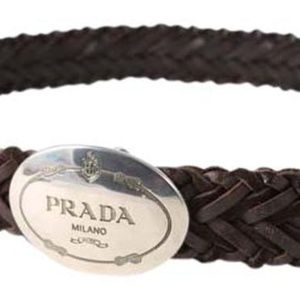 Prada Brown Woven Leather Belt